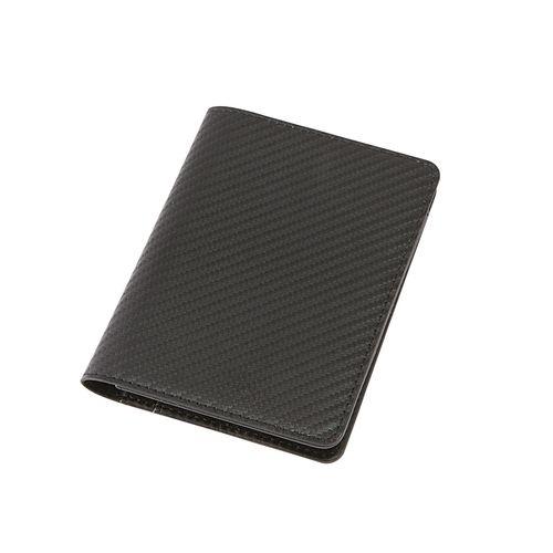 カーボンスタイル レザーパスポートケース:リアルブラック