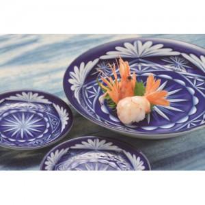 切子写し藍陶器・盛付皿1P|A22-163036