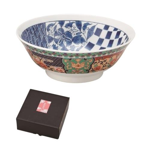 金彩牡丹ラーメン鉢(波市松)