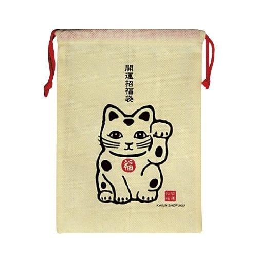 縁起物巾着1個(招き猫)◆