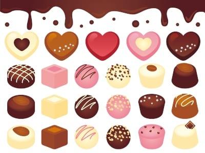 チョコレートが並んでいる