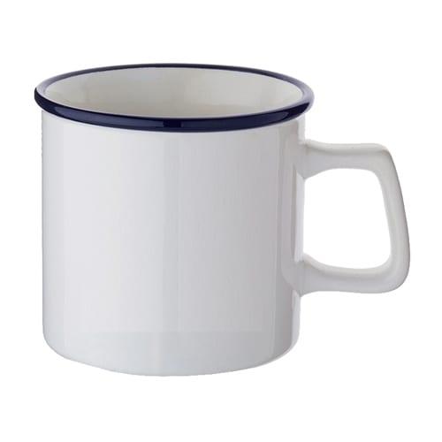 陶器マグストレート ラウンドリップ:ホワイト×ネイビー
