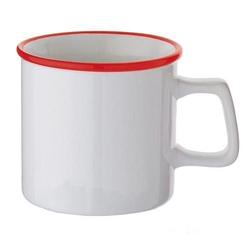 陶器マグストレート ラウンドリップ:ホワイト×レッド