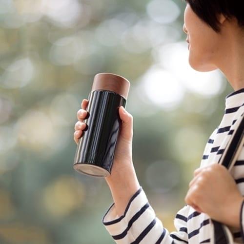 木目調サーモステンレスボトル 300ml:シルバーの商品画像5枚目