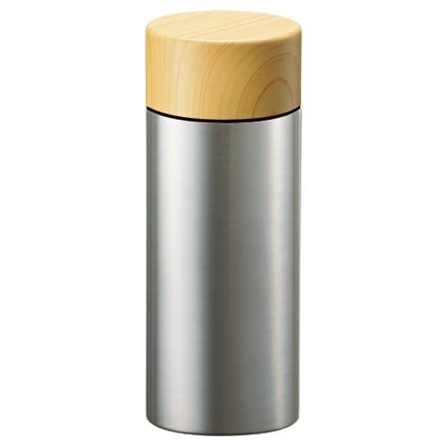 木目調サーモステンレスボトル 300ml:シルバー