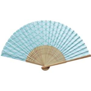 日本の伝統柄扇子 すす竹 青海波扇子|A76-2D9735