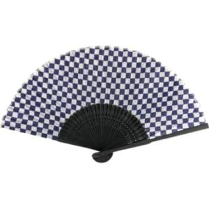 紫紺市松模様 黒竹扇子|A76-2D9744