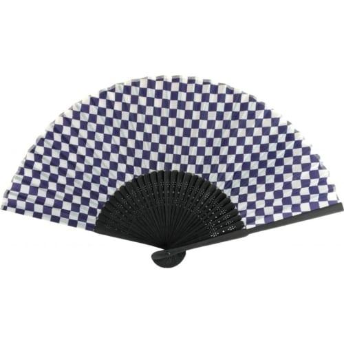 紫紺市松模様 黒竹扇子
