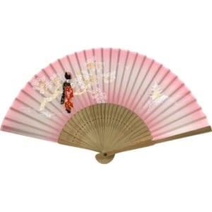 唐木中彫 舞妓扇子(ピンク)|A76-F5890