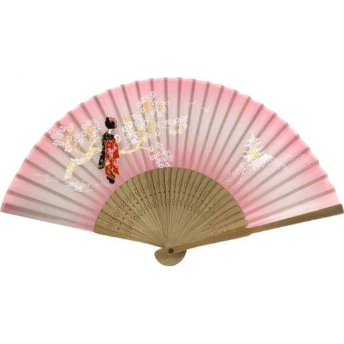 唐木中彫 舞妓扇子(ピンク)