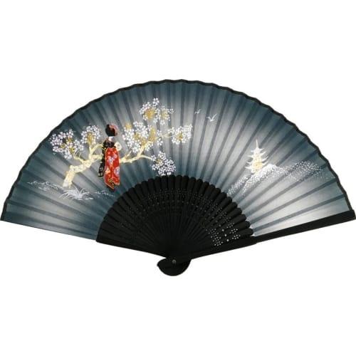 唐木中彫 舞妓扇子(ブルー)