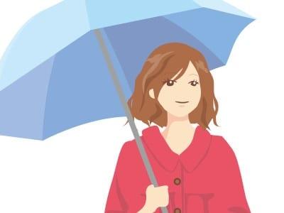 傘をさして外出