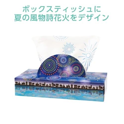 夏柄BOXティッシュ120W 花火