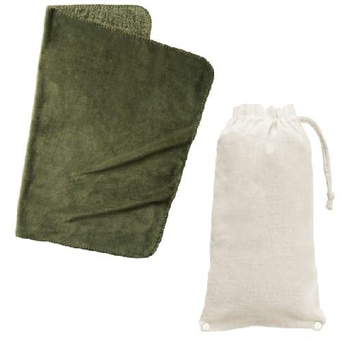 ロール巾着ブランケット:カーキ
