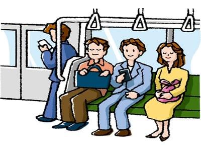 電車内、通勤や帰宅