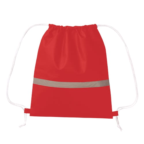 不織布リフレクター付巾着リュック:レッド