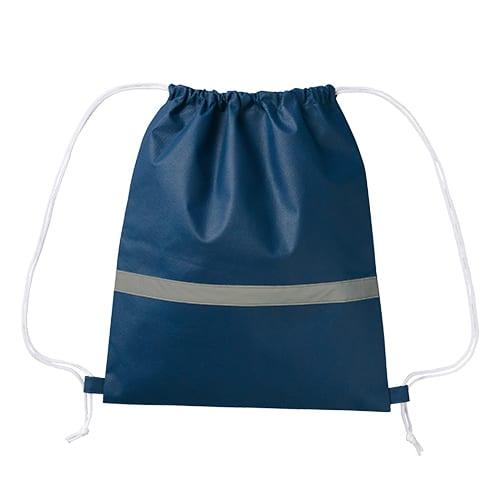 不織布リフレクター付巾着リュック:ディープブルー
