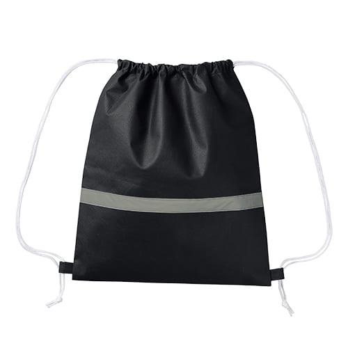 不織布リフレクター付巾着リュック:ナイトブラック