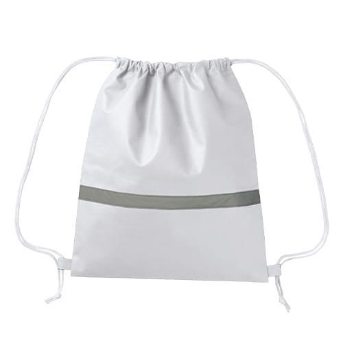 不織布リフレクター付巾着リュック:ナチュラルホワイト
