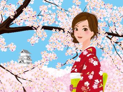 着物の女性と桜の画像