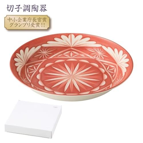 切子調デザイン 大皿1P(朱)