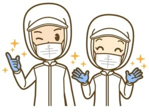 さらにゴム手袋をつけている人の画像