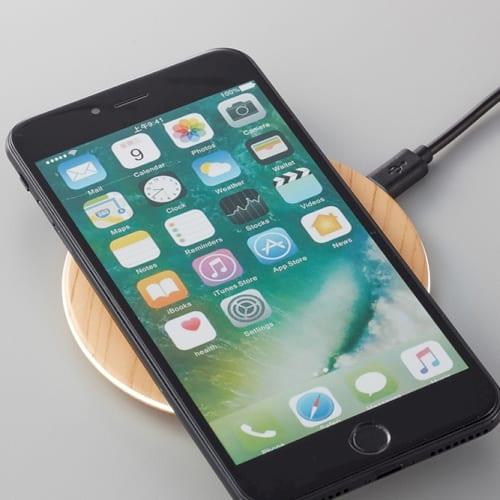 木目調ワイヤレス充電器 ラウンド 10W:ブラウンの商品画像2枚目