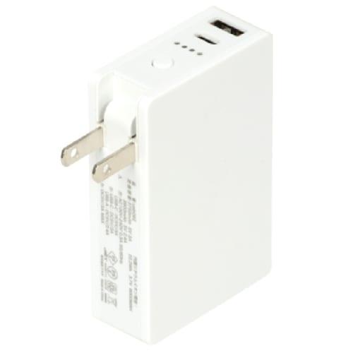 AC付きバッテリーチャージャー6,000mAh(白) 【モバイルバッテリー】の商品画像2枚目
