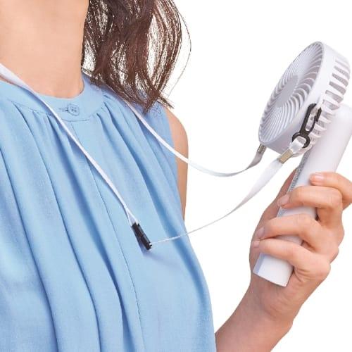 2WAY可動式ハンディファン(ネックストラップ付き)(ホワイト)◆ 【ミニ扇風機】の商品画像2枚目