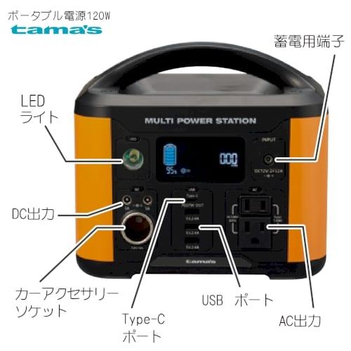 ポータブル電源120W:オレンジの商品画像2枚目