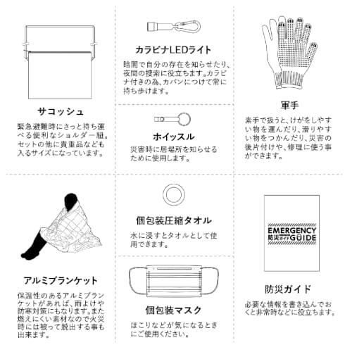 防災緊急8点セット サコッシュタイプ:ブラックの商品画像4枚目